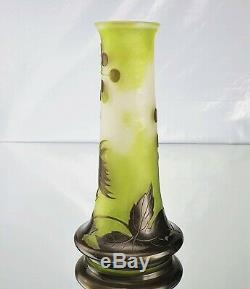 Emile Gallé Beau Vase Aralias du Japon Pâte de Verre Gravé ART NOUVEAU 1900