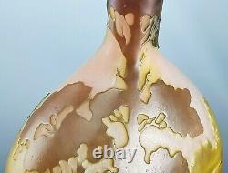 Emile Gallé Beau Vase Décor Paysage Lacustre Pâte de Verre Gravé ART NOUVEAU
