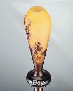 Emile Gallé Beau Vase décor Campanules Pâte de Verre Gravé ART NOUVEAU 1900