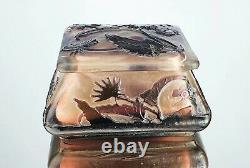 Emile Gallé Bonbonnière Hydrangeas Boîte Vase Pâte Verre Gravé Art Nouveau