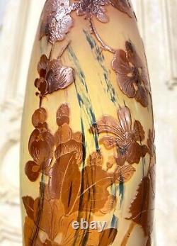Émile Gallé Grand Vase Aux Pommiers Du Japon Orange, Pate De Verre Art Nouveau