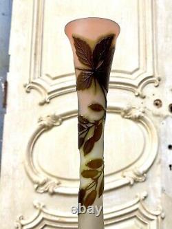 Émile Gallé Grand Vase Balustre En Pate De Verre A Decor De Baies, Art Nouveau