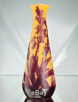 Emile Gallé Grand Vase Orchidée Mouche Pâte de Verre Gravé ART NOUVEAU Ht30