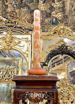 Émile Gallé Grand Vase Tube Art Nouveau Decor De Fleurs, 60 Cm. Pate De Verre