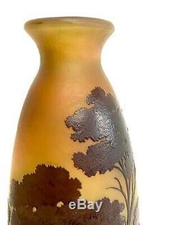Emile Gallé, Important Vase A Decor De Paysage, Pate De Verre Art Nouveau