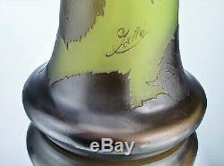 Emile Gallé Important Vase Noisetier Pâte de Verre Gravé ART NOUVEAU Ht34cm