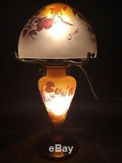 Émile Gallé Lampe Champignon Aux Hibiscus Dépoque Art Nouveau vase daum gallé