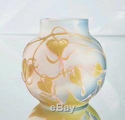 Emile Gallé Rare Vase à décor Cur de Marie Pâte de Verre Gravé ART NOUVEAU