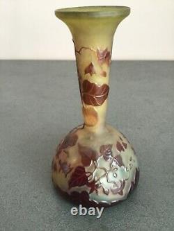 Emile Galle Superbe Vase Art Nouveau Soliflore Feuille De Vigne Grimpante