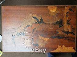 Emile Galle Table Marqueterie Chardons Art Nouveau 1900 A Restaurer No Ship Vase