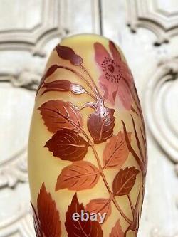 Emile Gallé Vase A Décor Rouge Et Pate De Verre Art Nouveau