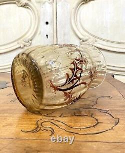 Emile Gallé Vase Aux Chardons En Verre Strillé Et Émaillé, Art Nouveau