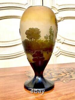 Emile Gallé Vase Conique Au Paysage Lacustre, Pate De Verre Art Nouveau
