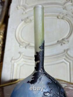 Émile Gallé Vase D'époque Art Nouveau Paysage Vosgien En Verre Multicouche