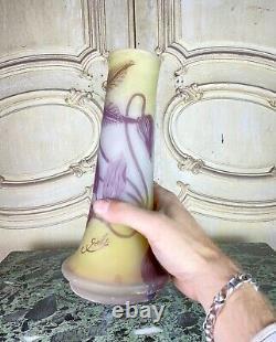 Emile Gallé Vase En Verre Multitouchr A Decor Violet Pate De Verre Art Nouveau