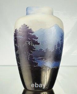 Emile Gallé Vase La Ligne Bleue Des Vosges Pâte de Verre Gravé ART NOUVEAU