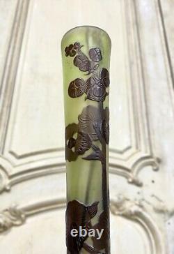 Émile Gallé Vase Soliflore A Decor De Marais Pate De Verre Art Nouveau