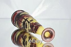 Emile Gallé Vase Soliflore Paysage Lacustre Pâte de Verre Gravé ART NOUVEAU