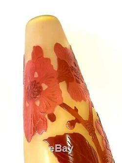 Émile Gallé Vase Soliflore Rose Et Jaune En Pate De Verre, Art Nouveau, 1900