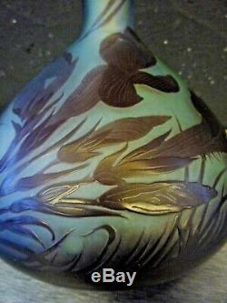 Emile Gallé-grand vase art nouveau, décor floral, daum, burgun, scharder, muller