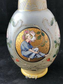 Enamelled glass vase Jugendstil Vase émaillé Art Nouveau Vers 1900 Antique