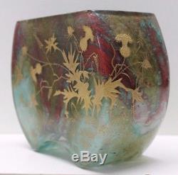 Ernest-Baptiste Leveillet, joli vase en pâte de verre rehauts d'or. Art Nouveau