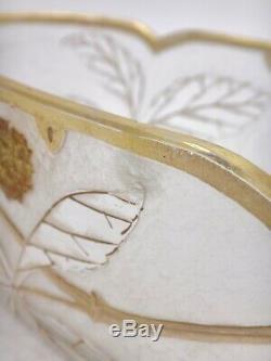 F. Theodore Legras St Denis Paris Vase Jardinière ovale verre givré Art Nouveau