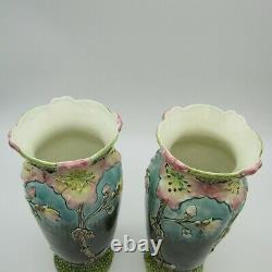 Fives Lille. De Bruyn. Paire de vases art nouveau barbotine décor de fleurs, XXe