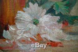 Fleurs dans un vase. Huile /toile signé JOHN MONACHON 1910. Cadre 78 x 63 cm