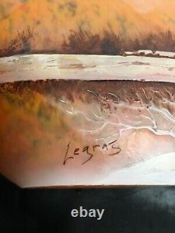 François-Théodore Legras Superbe Vase Hivernal Dégagé à Lacide -Art Nouveau