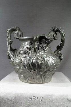 Franoz Ancien Vase En Etain Art Nouveau Pour Salon Paris 1904 Grand Palais