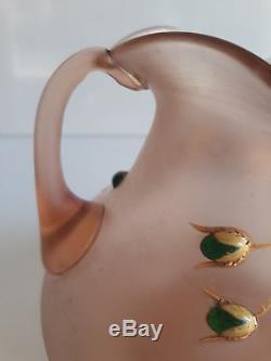 Fritz Heckert (Att) Bohème Vase à 2 anses émaillé et larmes de verre