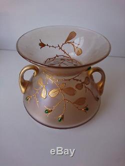 Fritz Heckert (Att) Bohème Vase diabolo à 2 anses-émaillé et larmes de verre