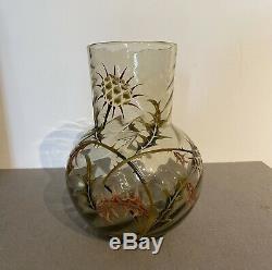 GALLE Superbe vase en verre emaille decor aux Chardons Art Nouveau