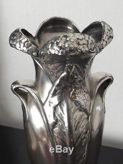 GALLIA Grand Vase ART NOUVEAU 1900 Jugendstil Métal Argenté CHRISTOFLE