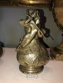 GARNIER JEAN Paire De Vases En Bronze Argente ART NOUVEAU