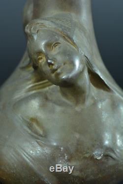 GRAND VASEAncien ART NOUVEAU Symboliste HELENE SIBEUD Mucha jugenstil 1900 x 2