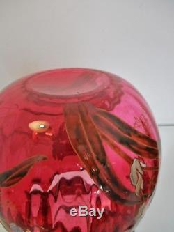 GROS VASE boule LEGRAS VERRE émaillé aux Iris FOND ROUGE Art Nouveau 1900