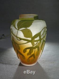 Galle Ancien Vase En Pate De Verre Decor De Feuilles Tilleul 1900 Art Nouveau
