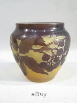 Galle Ancien Vase Verre Multi Couches Decor Floral Lierre 1900 Art Nouveau