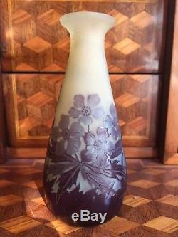 Gallé, Emile (1846-1904) Vase En Pte De Verre Époque Art Nouveau