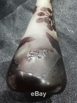 Gallé, art nouveau vase pate de verre dégagé acide, authentique, daum, muller