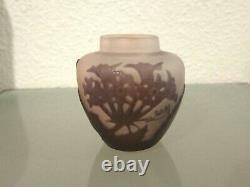 Gallé vase en verre gravé à l'acide Art Nouveau 1900
