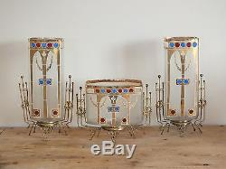 Garniture vase et jardinière art nouveau verre émaillé Wiener Secession