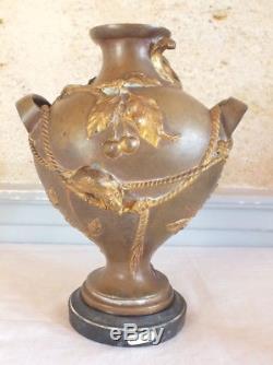 Gourde vase bronze doré art nouveau feuilles fruits rongeurs marbre