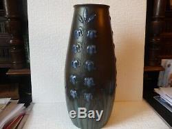 Grand Et Rare Vase Sarreguemines En Gres Art Nouveau