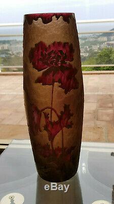 Grand Vase ART NOUVEAU MONTJOYE LEGRAS pavots degagé à l'acide