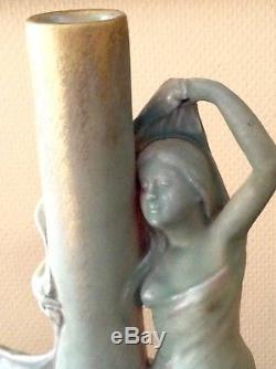 Grand Vase Art Nouveau Delphin Massier Vallauris Fin 19 Eme