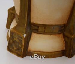 Grand Vase Art Nouveau Royal Dux Bohemia Decor Amour Et Tete De Belier C2496