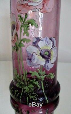 Grand Vase Art Nouveau Verre Émaillé Aux Anémones Legras